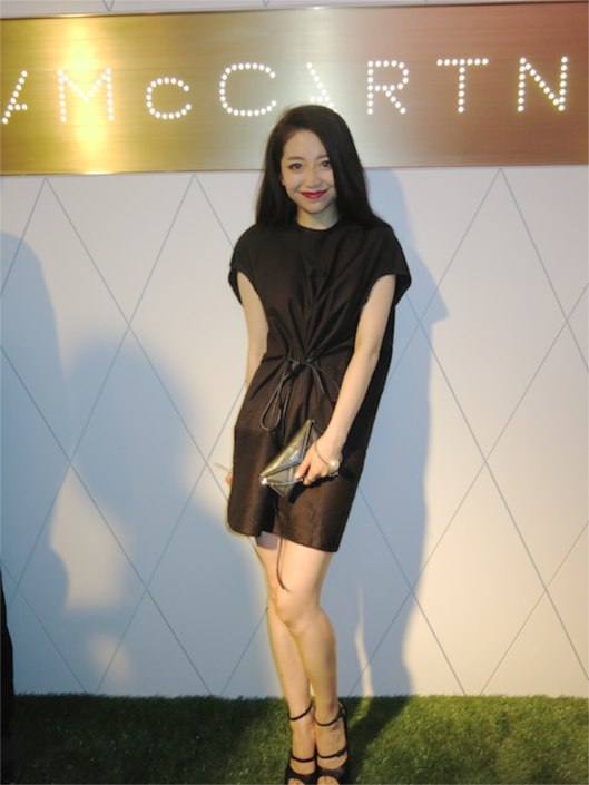 The lovely Shasha Han, again! in a Rick Owens dress, Chanel clutch and bangle and looking as stylish as ever!