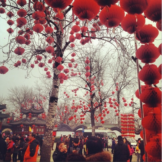 The beautiful lanterns that decorated Longtian Park for CNY, a splash of colors in the white sky.