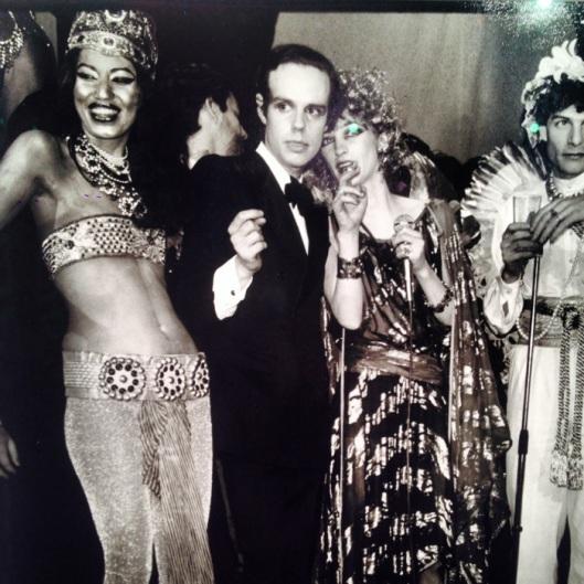 Frédéric Mitterand, Kirat, Loulou de la Falaise and Thadée Klossowski. The YSL Party Posse.