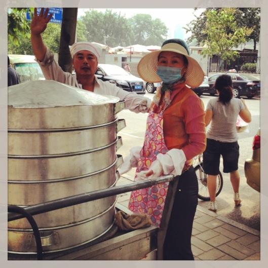 A steamed dumplings cart