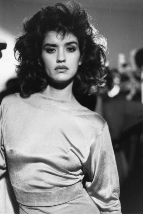 Janice Dickinson -  rue du Parc Royal 1985 (photo by Bénédicte Bro-Cassard)