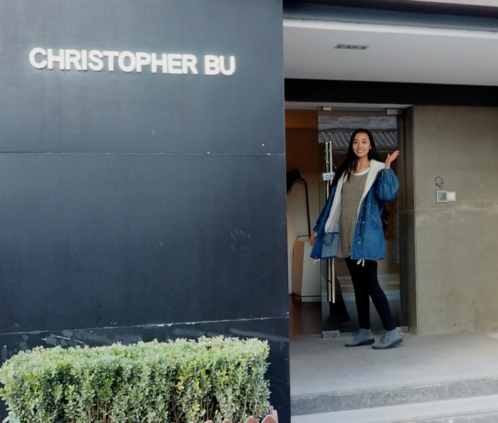 Next stop: Christopher Bu. His line of whimsical cute clothes were perfect for her.