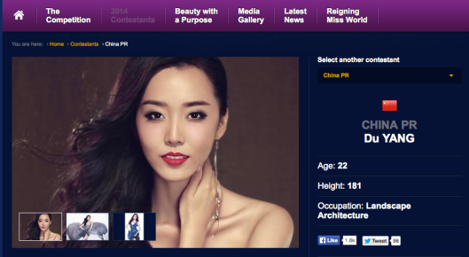 A screen capture from the Miss World official website
