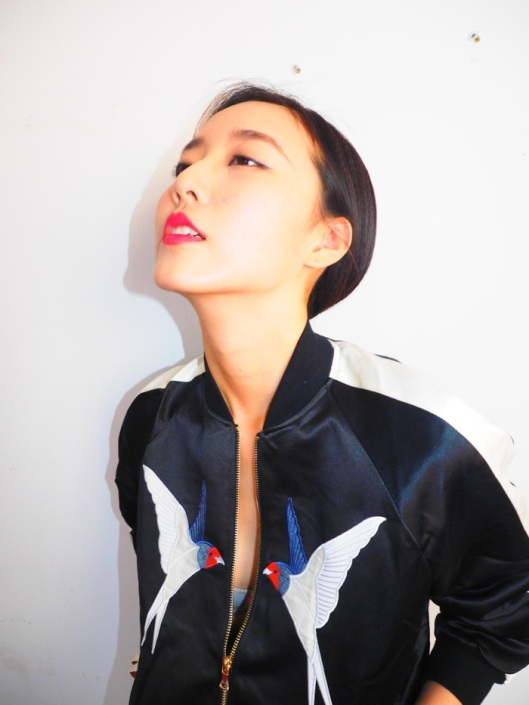 DuYang in a Stella McCartney bomber jacket.
